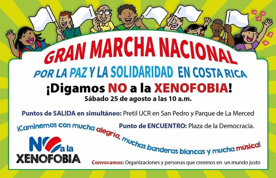 Marcha nacional. ¡En Costa Rica, la solidaridad es más!